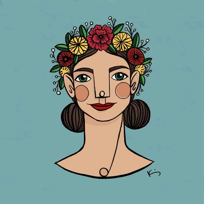 Illustration of a girl wearing a flower crown. © 2020, Kim Bonner
